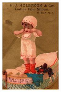 Trade card  New York  Utica H.J.Holbrook Co. ladies fine Shoes, Child  playi...