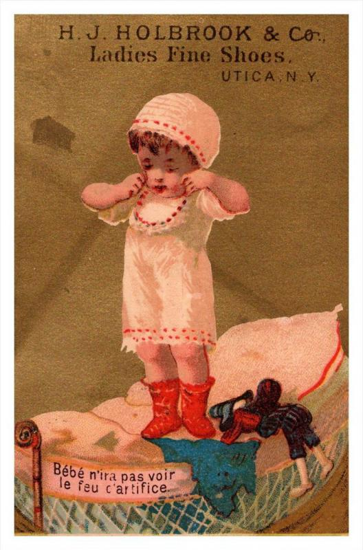 13437  Trade card  NY  Utica H.J.Holbrook Co. ladies fine Shoes, Child  playi...
