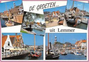 Netherlands De Groeten uit Lemmer, Harbour Boats Bateaux River Terrace