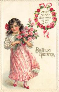 Beautiful Girl Flower Bouquet Birthday Greetings  Embossed Postcard