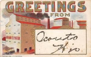 B86/ Oconto Wisconsin Wi Postcard c1910 Greetings from Oconto Grain Elevator