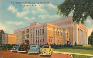 Battle Creek Michigan~Kellogg Auditorium Facing North East~1944 Cars~Postcard