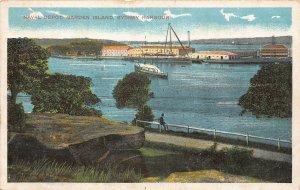 Australia Sydney Harbour Naval Depot Garden Island Boat Postcard