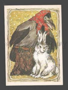 087942 Dressed RAVEN & White HARE Fairy Tale old Color Russian