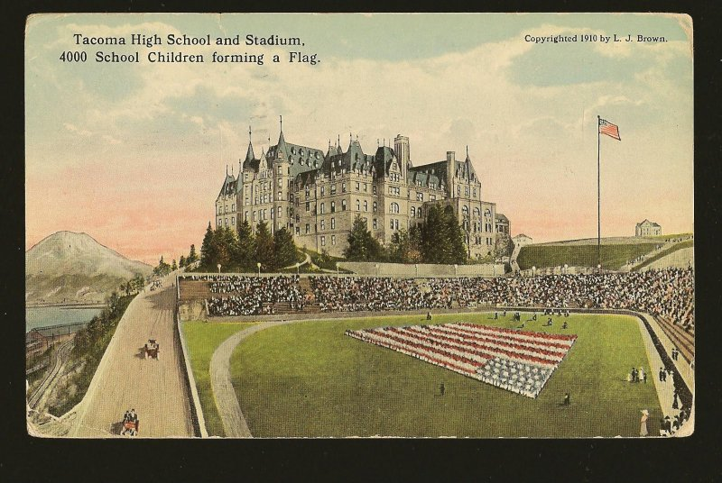 Postmarked 1918 Tacoma Wash Tacoma High School & Stadium & Children Forming Flag