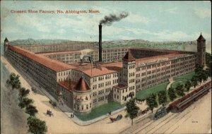 North Abington MA Crossett Shoe Factory c1910 Postcard
