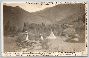 RPPC Picture of Our Camp in the Mountains~I Am Fishing~Pup Tent~RPPC 1913
