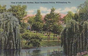 View Of Lake And Gardens Royal Governors Palace Williamsburg Virginia