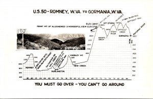 West Virginia Map Of U S 50 From Romney To Gormania Real Photo