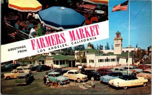 Los Angeles CA Farmers Market Greetings Vintage California POSTCARD UNPOSTED