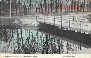 Rochester Minnesota~Park Scene~Bridge Over Waterway~Sign on Tree~1909 Postcard