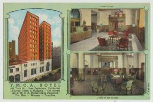 YMCA HOTEL SAN FRANCISCO, CA c1940s Linen Postcard vintage