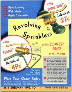 Battle Creek MI ADVERTISING LINEN Postcard H.B. Sherman Mfg. Revolving Sprinkler