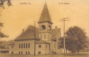 Aledo Illinois~U.P. Church~United Presbyterian~House Behind~PCK 1909 Postcard