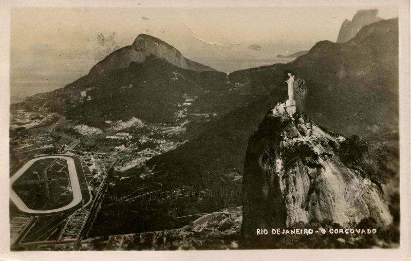 Brazil - Rio de Janeiro. O Corcovado, circa 1938.   *RPPC