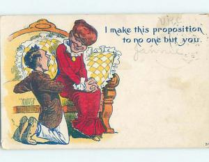 Pre-Linen comic MAN ON HIS KNEES PROPOSING TO WOMAN ON COUCH HL2257