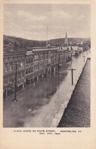 MONTPELIER, Vermont, 1927; Flood, State Street