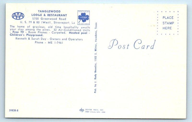 SHREVEPORT, LA ~ Roadside TANGLEWOOD LODGE & Restaurant Pool  c1960s   Postcard