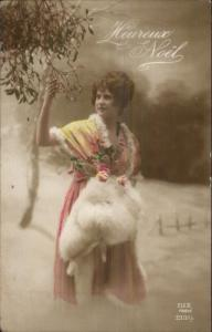 French Christmas Heureux Noel Beautiful Woman w/ Fur Real Photo Postcard #2