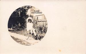EARLY 1900'S GIRL WITH VINTAGE TRICYCLE RPPC REAL PHOTO POSTCARD