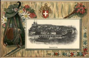 Lausanne Switzerland - Fancy Embossed Border c1910 Postcard