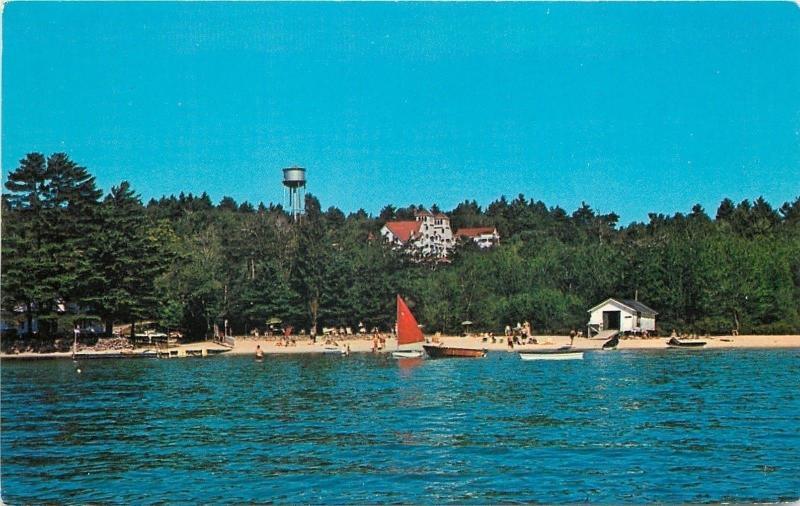 Lake Sunapee New Hampshire~Soo Nipi Beach & Lodge~Water Tower 1950s Postcard