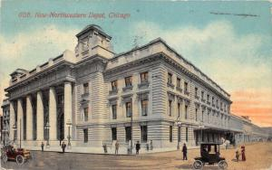 Chicago Illinois~New Northwestern Railroad Depot~People & Cars in Front~1912 Pc