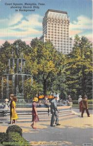 Memphis Tennesse~Court Square Scene~People by Fountian~Sterick Building~1942 Pc