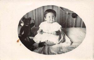 G49/ Interesting RPPC Postcard c1910 Cute Baby Teddy Bear Stuffed Animal