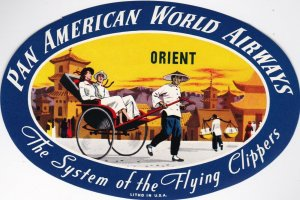 Pan American World Airways To The Orient Vintage Airline Label lbl0127