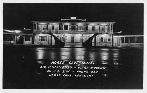 Horse Cave Kentucky Motel At Night Real Photo Antique Postcard K12607