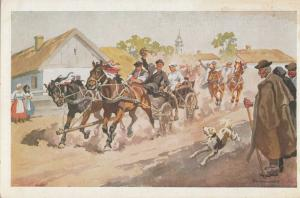 Ethnic hungarian folklore Benyvszky I. - Country Wedding early artist postcard