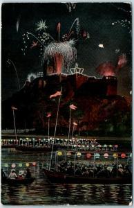 HALLE Saxony-Anhalt Germany Postcard Bating Scene w/ Fireworks 1909 Cancel