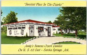 Eureka Springs, Arkansas Postcard Andy's Famous Ozark Candies Roadside c1950s