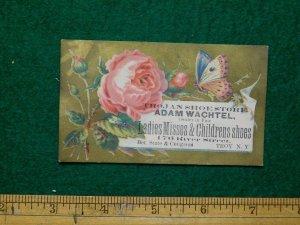 1870s-80s Adam Wachtel Trojan Shoe Store Butterfly Victorian Trade Card F17
