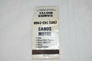 Sands Motel Harrison Arkansas 20 Strike Matchbook Cover