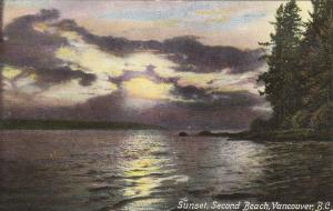 VANCOUVER, British Columbia, Canada, 1900-1910's; Sunset, Second Beach