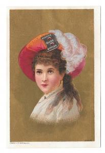 Victorian Trade Card Burdock Blood Bitters Lady Feathered Hat Gold Background