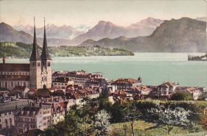 Switzerland Luzern mit den Alpen