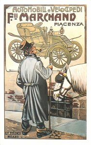 Postcard Advertising drawing automobili e velocipedi marchand piacenza car horse