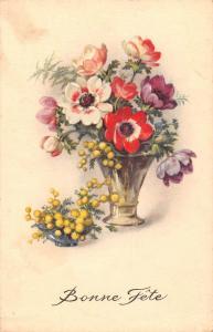 Bonne Fete, Happy Birthday, Poppy, vase, flowers