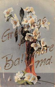 Baltimore Maryland Greetings Flowers in Vase Vintage Postcard JA455592