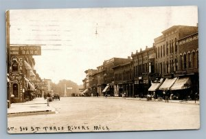 THREE RIVERS MI EAST STREET ANTIQUE REAL PHOTO POSTCARD RPPC BICYCLE STORE SIGNS