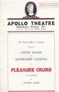 Pleasure Cruise Reginald Gardiner Comedy London Apollo Theatre Programme