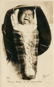 AMERICAN INDIAN PAPOOSE WEEPS in HIS CALCLEEPS ANTIQUE REAL PHOTO POSTCARD RPPC