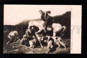 034060 WOLF Hunt w/ BORZOI & HORSES by SOKOLOV old