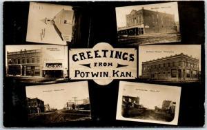 POTWIN Kansas RPPC Photo Postcard Multi-View Main Street Scenes Church c1910s