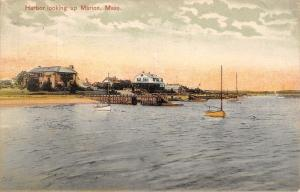 New Bedford  MA Cancel~Harbor Looking Up Marion~Wooden Fences~Bungalows 1910 PC