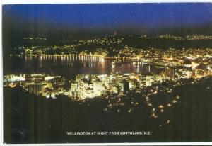 New Zealand, Wellington at night from Northland, used Postcard