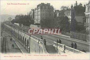 Postcard Old Low pyrenees (2) 7 pau say leon avenue and boulevard of the Pyre...